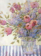 Joyce Hicks Posters - Pink Roses and Lilacs Poster by Joyce Hicks