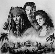 Films Drawings Framed Prints - Pirates Framed Print by Andrew Read