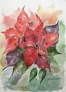 Xmas Painting Originals - Poinsettias by Geeta Biswas