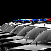 Cop Cars Framed Prints - Police Cars Framed Print by Lane Erickson