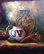 Tribes Paintings - Pomo Feather Basket by Gail Salituri