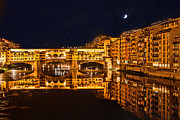 Arno River Framed Prints - Ponte Vecchio Nightscape Framed Print by Susan  Schmitz