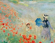 Green Field Paintings - Poppies at Argenteuil by Claude Monet