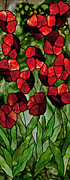 Stained Glass Art Glass Art Framed Prints - Poppies Framed Print by David Kennedy