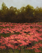 Poppies Field Paintings - Poppy Field with Gold Leaf by Vic Mastis by Vic  Mastis