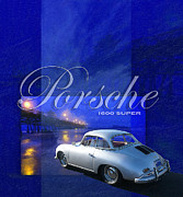 San Clemente Pier Posters - Porsche 1600 Super Poster by Ron Regalado