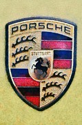 Vintage Hood Ornament Painting Prints - Porsche badge Print by George Atsametakis