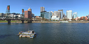 Willamette River Framed Prints - Portland OR. Skyline panorama and River. Framed Print by Gino Rigucci