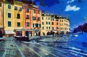 Genoa Painting Framed Prints - Portofino in Italy Framed Print by George Atsametakis