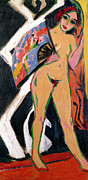 Abstract Expressionist Metal Prints - Portrait of a Woman Metal Print by Ernst Ludwig Kirchner