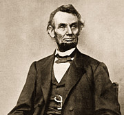 President Of America Prints - Portrait of Abraham Lincoln Print by Mathew Brady