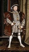 Full-length Portrait Painting Prints - Portrait of Henry VIII Print by Hans Holbein the Younger