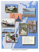 Downtown Tapestries - Textiles Prints - Postcards Of Wilmington Print by Anita Jacques