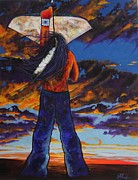 Indian Wearing Blue Jeans Prints - Prayer Arrow at Sunset Print by Joe  Triano