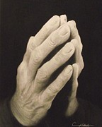 Praying Drawings Framed Prints - Praying Hands Framed Print by Adrian Pickett