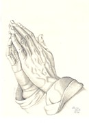 Praying Drawings Framed Prints - Praying Hands Framed Print by Patricia Hiltz