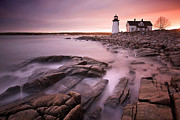 Maine Sunset Framed Prints - Prospect Harbor Light Framed Print by Patrick Downey