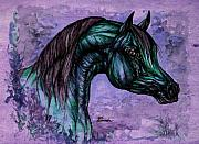 Wild Horses Drawings - Psychedelic Blue by Angel  Tarantella