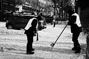 Footpaths Art - public workers clearing snow and ice off the sidewalks in downtown Saskatoon Saskatchewan Canada by Joe Fox