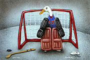 Hockey Painting Metal Prints - puck duck... by Will Bullas Metal Print by Will Bullas