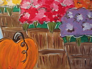 Pumpkins Paintings - Pumpkin baskets by Lisa Collinsworth