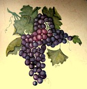 Blue Grapes Posters - Purple and Blue Grapes Poster by Sandra Maddox