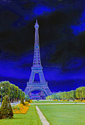 Chuck Staley Posters - Purple Eiffel Poster by Chuck Staley