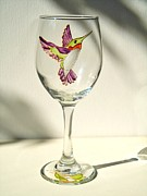 Painted Wine Glass Glass Art - Purple Hummingbird by Pauline Ross
