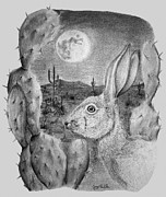 Animal Portraits Pastels Prints - Rabbit On The Moon Print by Jerry Padilla