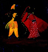 Gopala Framed Prints - Radha Krishna Dancing Framed Print by Pratyasha Nithin