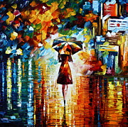 Street Framed Prints - Rain Princess Framed Print by Leonid Afremov