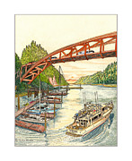 Center Drawings Framed Prints - Rainbow Bridge La Connor W A Framed Print by Jack Pumphrey