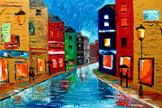 Rainy Street Painting Originals - Rainy evening by Mariana Stauffer