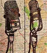 Block Print Drawings - 2 RCA Microphones by William Cauthern