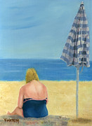 Beach Towel Painting Posters - Reading By Sunlight Poster by Vicky Watkins