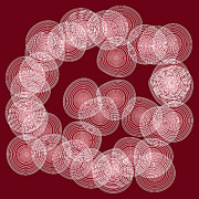 Red Drawings Prints - Red Abstract Circles Print by Frank Tschakert