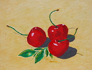 Ice Wine Painting Posters - Red cherries Poster by Johanna Bruwer