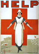 Australian Poster Framed Prints - RED CROSS POSTER, c1917 Framed Print by Granger