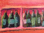 Wine Bottles Pastels - Red in a Row by Steve Jorde