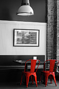 Cabin Wall Prints - 2 Red Metal Chairs Print by Paulette Wright