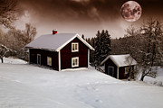 Snow Scape Framed Prints - Red Moon Rise Framed Print by Christian Lagereek