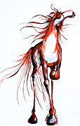 Mustang Paintings - Red Painted Horse by Terry Meyer