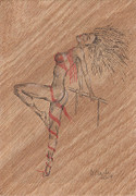 Ballet Drawings Originals - Red Ribben. by Kenneth Clarke