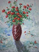 South Of France Painting Originals - Red Roses by Frederic Payet