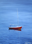 New England Ocean Drawings Prints - Red Sailboat  Print by Greg Lindberg