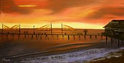 Redondo Beach Pier At Sunset Print by Bev Conover