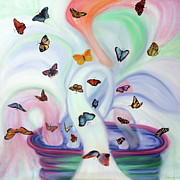 Jesus Art Paintings - Releasing Butterflies by Jeanette Sthamann