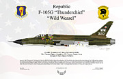 Republic Prints - Republic F-105G Thunderchief Print by Arthur Eggers