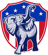Party Digital Art Framed Prints - Republican Elephant Mascot USA Flag Framed Print by Aloysius Patrimonio