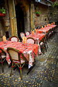 Tablecloth Framed Prints - Restaurant patio in France Framed Print by Elena Elisseeva